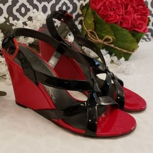 Stuart Weitzman red and black wedges